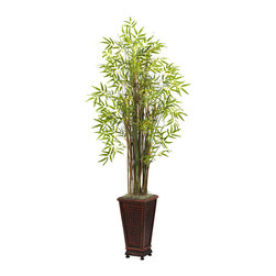 "Nearly Natural - Nearly Natural 5.5' Grass Bamboo Plant with Decorative Planter - Standing tall (five and a half feet) and ready to dance in wind, this beautiful bamboo and grass plant will bring an ""Eastern"" feel to any decor. With several distinct stalks of varying hues, the wispy leaves burst forth in an explosion of soft color. Looks great anywhere - your living or dining room, an office reception area, or anywhere else. Complete with decorative planter"