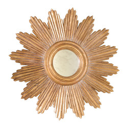 "Worlds Away - Worlds Away - Ludwig Starburst Gold Leaf Mirror - LUDWIG G - Worlds Away touches the home with marvelous modern treasures inspired by vintage finishes, patterns and styles. Bursting with Art Deco flavor, the Ludwig Starburst mirror is a glamorous accent with iconic style. Its round antiqued mirror is surrounded by the bold rays of its hand carved wood frame, finished in antiqued goldleaf. Hang this vibrant mirror alone or in a row or cluster for a dramatic home accent.Features:Ludwig Starburst Gold Leaf MirrorGold Leaf FinishRound ShapeGlamorous accent with iconic styleModern StyleSome Assembly Required Dimensions:�34"" Diameter x 3""D"