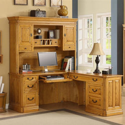 Golden Oak - Cambria Return Desk w Hutch in Oak Finish - Set includes return desk with hutch. Comes with cable management channels to organize and hide cables. Versatile left-hand center drawer with drop-down face functions as keyboard holder or pencil drawer. Large right-hand keyboard tray offers ample room for keyboard, mouse and mouse pad. CPU compartment muffles noise while protecting your PC. Drawers feature English Dovetail joinery construction and full extension ball-bearing slides for smooth operation and long life. Fully finished backs. Hidden rear door for easy access to CPU. Desk: 72 in. W x 66 in. D x 31 in. H (125 lbs.). Hutch: 68.5 in. W x 14.75 in. D x 48 in. H