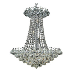 """PWG Lighting / Lighting By Pecaso - Brigitte 13-Light 21"""" Crystal Chandelier 6890D21C-EC - Drawing on the Empire style, the Brigitte Collection is transformed with a contemporary edge to create a dramatic explosion of brilliance. The Crystal Flush Mounts and smaller pendants provide a brilliant display of color bringing a decorative drama to any setting."""