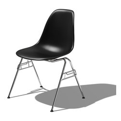 Herman Miller - Eames Molded Plastic Side Chair - Give your home an industrial-chic look with the classic Molded Plastic Side Chair. Designed by Charles and Ray Eames and unveiled at the Museum of Modern Art in 1948, this piece of design history is yours to own, for iconic style in your home. This vibrant, ecofriendly chair is constructed for comfort and built to last a lifetime.