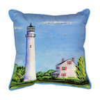 Betsy Drake - Betsy Drake Fenwick Island Lighthouse Pillow- Indoor/Outdoor - Fenwick Island Lighthouse Pillow- Large indoor/outdoor pillow. These versatile pillows are equal at enhancing your homes seaside decor and adding coastal charm to an outdoor setting arrangment. They feature printed outdoor, fade resistant fabric for years of wear and enjoyment. Solid back, polyfill. Proudly made in the USA.