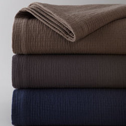 """Peacock Alley - Peacock Alley King Bradley Coverlet, 115"""" x 98"""" - These Egyptian cotton bed linens offer soft warmth, sharp style, and plenty of versatility to fit your personal style. Select Graphite (gray), Driftwood (brown), or Navy when ordering. All are made in Portugal unless stated otherwise below. From Peacock..."""