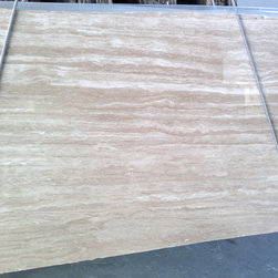 Polished Travertine Slab - Polished Travertine has defined white veins and can be used for interior and exterior countertops.