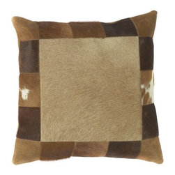 "Surya - Faux Fur Pillow with Caramel Colored Finish (18 x 18"" Down) - Choose Filling Material: 18 x 18 in. Down. Faux fur pillow is a handsome accent for your den, study, or living room. in various shades of brown, tan, and caramel, this imitation pony hide bolster features a patchwork style border with contrasting middle square insert. This unique pillow is soft and plush with the standard poly filling, or choose down fill for extra luxury. Animal style. Made in India. Made from 70% Cotton and 30% Jute. 18 in. W x 18 in. L"