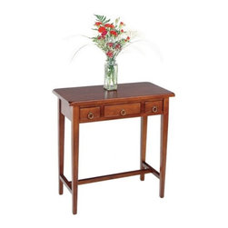 """Winsome - Regalia Hall Console Table - Stylish yet sturdy, this table offers a clean and organized look for anywhere in the house. Featuring three storage drawers with ringed drawer pulls and a Walnut finish, it is a unique and distinguished piece of furniture. Features: -Three storage drawers with ringed drawer pulls.-Simple, classic design.-Walnut finish.-Collection: Regalia.-Distressed: No.-Powder Coated Finish: No.-Gloss Finish: No.-Solid Wood Construction: No.-Reclaimed Wood: No.-Hardware Material: Metal.-Non-Toxic: Yes.-UV Resistant: No.-Scratch Resistant: No.-Stain Resistant: No.-Moisture Resistant: No.-Drop Leaf Top: No.-Lift Top: No.-Storage Under Table Top: No.-Adjustable Height: No.-Glass Component: No.-Nested Stools Included: No.-Legs Included: Yes -Number of Legs: 4..-Magazine Rack: No.-Casters: No.-Exterior Shelves: No.-Cabinets Included: No.-Drawers: Yes -Number of Drawers: 3.-Drawer Glide Material: Wood.-Ball Bearing Glides: No.-Soft Close Drawer Glides: No.-Safety Stop : Yes.-Drawer Handle Design: loop handle..-Corner Block: No.-Cable Management: No.-Weight Capacity: 75 lbs.-Outdoor Use: No.-Swatch Available: No.-Commercial Use: No.-Recycled Content: No.-Eco-Friendly: No.Specifications: -FSC Certified: No.-ISTA 3A Certified: No.-ISTA 1A Certified: No.-CARB Certified: Yes.-General Conformity Certified: Yes.-ISO 9000 Certified: No.-ISO 14000 Certified: No.Dimensions: -Overall Height - Top to Bottom: 28.74"""".-Overall Width - Side to Side: 28.74"""".-Overall Depth - Front to Back: 14.25"""".-Table Top Thickness: 0.98"""".-Table Top Width - Side to Side: 28.74"""".-Table Top Depth - Front to Back: 14.25"""".-Drawer: Yes.-Legs: Yes.-Overall Product Weight: 32 lbs.Assembly: -Assembly Required: Yes.-Tools Needed: Hardware included.-Additional Parts Required: No.Warranty: -Product Warranty: Replacement parts within 60 days from date of purchase."""