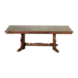 Vintage Oak Parquetry 7.5Ft Pedestal Dining Table - Oak finish