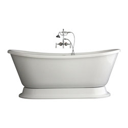 """Baths of Distinction - Hotel Collection Bateau Double Slipper Pedestal Bathtub/Faucet Package, 67"""" - Package consists of a beautiful 67"""" bateau double slipper pedestal bathtub along with hardware including wall mounted faucet with handheld shower and drain with lift off stopper all in chrome. Bathtub is made of CoreAcryl acrylic with a resin/powdered stone filler.  Bathtub has a built in aluminum heat barrier within the tub body.  This tub is an nice soaking tub with good leg room and a nice depth."""
