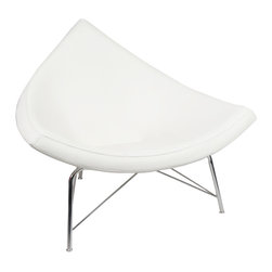 IFN Modern - Coconut Chair Reproduction-White - 100% Italian Leather - The design of the Coconut Chair was created by  George Nelson and his inspiration for this chair comes from a coconut shell itself. George Nelson is considered to be one of the founders of mid century modern design- he was known for designing furnishings which contained elements of the natural world. This chair features the form of a cut-off section from a coconut and it designed with the intention of both aesthetic strikingness as well as comfort. This chair is analogous with the Minimalist movement that existed in the 1950's and it was first designed in the year 1955. This chair is beyond a piece of conversation- it is perfect for relaxation- whether one is looking to relax at a home, office, or a lounge setting.
