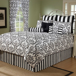 None - Arbor California King 10-piece Comforter Set - Update your bedroom decor with a 10-piece comforter setSet includes comforter,bedskirt,two shams,three Euro shams and three decorative pillowsBedding is available in black/white color option