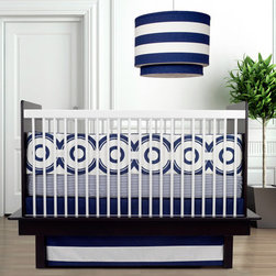 Oilo Crib Bedding Set Wheels Motif Cobalt - Introduce your baby to great design at an early age with this Wheels Motif Cobalt crib bedding set. Bold circles pair with sleek stripes to add visual detail without looking too infantile. A great modern pattern for an updated nautical theme.