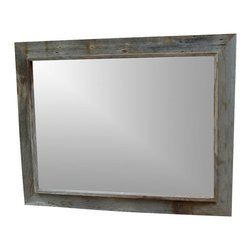MyBarnwoodFrames - Western Rustic Mirror - Custom  Made  Rustic  Mirrors          Custom  Made  Rustic  Mirrors  used  to  be  difficult  to  find.  Not  any  more.  MyBarnwoodFrames  handcrafts  dozens  of  sizes  and  styles.  All  you  need  to  do  is  contact  us  and  let  us  know  what  size  and  style  you  want.  The  beautiful  custom  made  rustic  mirror  shown  here  is  a  customer  favorite. Our  Western  Rustic  mirror  looks  great  as  part  of  your  cabin  or  lodge  decor,  or  as  a  bath  mirror.  We  begin  with  aged  planks  of  authentic  barnwood,  then  handcraft  them  to  your  specifications.  Many  of  our  picture  frame  styles  are  also  available  as  mirrors.          One  of  the  great  things  about  a  mirror  made  of  aged  barnwood  is  that  if  you  are  willing  to  add  a  little  bit  of  paint,  your  color  options  are  endless.  Our  rustic  mirrors  can  be  crafted  to  fit  your  individual  needs.  If  you  have  questions  about  this  mirror,  or  would  like  a  quote  on  another  size,  please  call  us  toll  free  at  888-OLD-BARN  (888-653-2276).          Product  description:                  Each custom  made  rustic mirror is  handcrafted  from  authentic  barnwood              28x36  exterior  dimensions              22x30 mirror              Frame  width  is  3  inches  with  a  .75  inch  inner  border