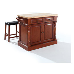 "Crosley - Butcher Block Top Kitchen Island in Black Finish with 24""  Upholstered Saddle St - Dimensions: 23 x 48.2 x 36 inches"