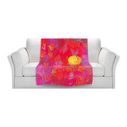 DiaNoche Designs - Fleece Throw Blanket by Jennifer Baird - Red Jungle Passionate Sun - Original Artwork printed to an ultra soft fleece Blanket for a unique look and feel of your living room couch or bedroom space.  DiaNoche Designs uses images from artists all over the world to create Illuminated art, Canvas Art, Sheets, Pillows, Duvets, Blankets and many other items that you can print to.  Every purchase supports an artist!