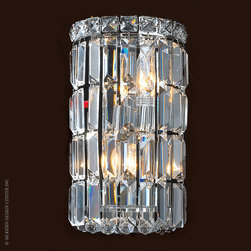 Worldwide Lighting Cascade Wall Sconce W23510C6 - Worldwide Lighting Cascade Collection 2 light Chrome Finish and Clear Crystal Wall Sconce Light