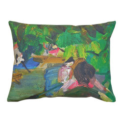 Roweboat Art Inc - Canoeing With The Ladies, Vintage Reproduction On Linen Pillow, 20x16 - Original art on linen fabric