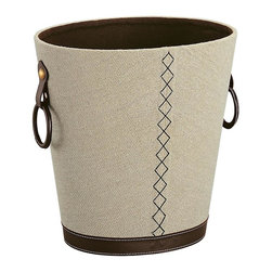 Organize It All - Oval Basket - Great for any of room setting. Beautiful brown stitching. Perfect for placing inconspicuously under the desk in the home office or under the sink in the bathroom. Made from faux leather. Beige and brown finish. No assembly required. 13.25 in. L x 10.25 in. W x 13 in. H (3.50 lbs.)