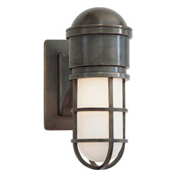 Marine Wall Light - Designed by Sandy Chapman, this industrial sconce will lend modern style combined with an aged patina in your space.