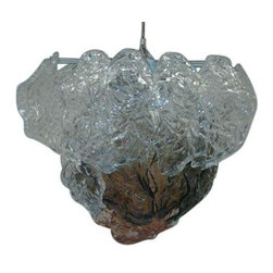 """Used 1960s Modern Murano Glass Chandelier - We've never seen anything quite like this amazingly fabulous 1960's modern Murano glass three tear chandelier. This piece is in good vintage and working condition with some wear due to age and use. There is 9 extra pieces of glass each piece of glass measures 10"""" by 5"""" wide."""