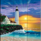 The Tile Mural Store (USA) - Tile Mural - The Lighthouse - Kitchen Backsplash Ideas - This beautiful artwork by Jeff Wilkie has been digitally reproduced for tiles and depicts a lighthouse near sunset.  Our lighthouse tile murals and nautical themed decorative tiles are perfect as part of your kitchen backsplash tile project or your tub and shower surround bathroom tile project. Lighthouse images on tiles add a unique element to your tiling project and are a great kitchen backsplash idea. Use a lighthouse scene tile mural for a wall tile project in any room in your home where you want to add interest to a plain field of wall tile.