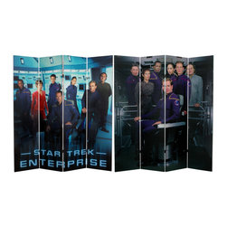 Oriental Furniture - 6 ft. Tall Double Sided Star Trek Enterprise Canvas Room Divider - Authentic, authorized, cast photographs from the last of the Star Trek television series', Star Trek: Enterprise. Clear, crisp, colorful reproductions of Captain Archer and crew, on a four panel limited edition privacy screen room divider. Let the exotic, other worldly style of the science fiction world enliven your home, office, or studio for a uniquely individual interior design.