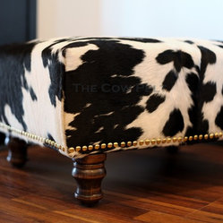 Cowhide Ottoman with Hand Applied Upholstery Tacks