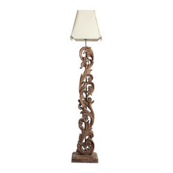 ParrotUncle - Vintage Style Wooden Floor Lamp with Hollow Out Engraving - This handcrafted wooden floor lamp is made of suqare solid wood, it is heavy and steady. The body is decorated with hollow out engraving wood. Fabric shade will bring your with soft light, which is more healthy. Vintage Style Wooden Floor Lamp with Hollow Out Engraving