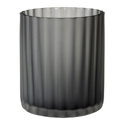"Lazy Susan - Lazy Susan Fluted Flannel Frost Votive Large - The Lazy Susan large fluted flannel frost votive creates a mod and inviting aura. Handcrafted from black glass, this candle container delivers textural depth with grooved lines. 5""D x 7.5""H"