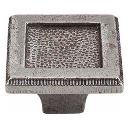 Top Knobs - Top Knobs: Square Inset Knob 2 Inch - Cast Iron - Top Knobs: Square Inset Knob 2 Inch - Cast Iron