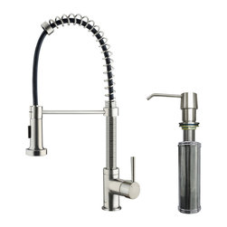 "VIGO Industries - VIGO Stainless Steel Pull-Out Spray Kitchen Faucet with Soap Dispenser - Make your kitchen ""pop"" with this functional VIGO faucet"