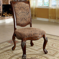 Furniture of America - Furniture of America Eiko Antique Cherry Elegant Side Chair (Set of 2) - Add traditional floral elegance right into your home décor with this beautiful foam filled cushion accent chair,with gorgeous wood carvings and traditional supports. Perfect as an accent décor,or simply an extra comfortable seating.