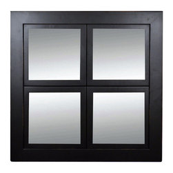 MyBarnwoodFrames - Windowpane Mirror, Black with Lightly Distressed Edges, Poplar Wood 8x8 Panes - This attractive black windowpane mirror features a black poplar wood frame and four panes of 8x8 inch mirror glass. Exterior dimensions measure 23 x 23 x 1 inches, and hanging hardware is pre-installed. Edges of the frame are lightly sanded (distressed). It is possible to remove the mirror glass in any of the individual frame openings and replace it with a photograph. Mirror glass and backings are included. Frame is constructed of wood with a 2-inch outer boder that surrounds four smaller individual frames, each with a 1-inch frame width.