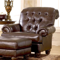 Traditional Accent Chair w Tufted Brown Leather Cover - At the end of a long day, how I'd love to sink into this deeply tufted chair.  Add in the ottoman and a good book, and I'd never get up.