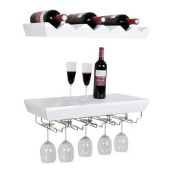 Welland - Wall Mounted Bottle Wine Rack Shelves With Glass Holder Set, White - Feature: