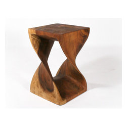 """Strata Furniture - Twist End Table - Features: -Hand carved.-Collection: Strata Furniture Thai.-Top Finish: Livos Black Walnut Oil.-Base Finish: Livos Black Walnut Oil.-Distressed: No.-Powder Coated Finish: No.-Gloss Finish: No.-Base Material: Monkey Pod Wood.-Top Material: Monkey Pod Wood.-Solid Wood Construction: Yes.-Nesting Tables: No.-Non-Toxic: Yes.-UV Resistant: No.-Scratch Resistant: No.-Stain Resistant: No.-Lift Top: No.-Storage Under Table Top: No.-Drop Leaf Top: No.-Magazine Rack: No.-Built In Clock: No.-Drawers Included: No.-Exterior Shelves: No.-Cabinets Included: No.-Glass Component: No.-Legs Included: No.-Casters: No.-Lighted: No.-Stackable: Yes.-Reclaimed Wood: No.-Adjustable Height: No.-Outdoor Use: No.-Weight Capacity: 150 lbs.-Swatch Available: No.-Commercial Use: No.-Recycled Content: No.-Eco-Friendly: Yes.-Product Care: Additional applications of furniture oil if desired..-Built In Outlets: No.-Powered: No.Dimensions: -Overall Height - Top to Bottom (Size: 20"""" H x 12"""" W): 20.-Overall Height - Top to Bottom (Size: 18"""" H x 12"""" W): 18.-Overall Width - Side to Side (Size: 18"""" H x 12"""" W, 20"""" H x 12"""" W): 12.-Overall Depth - Front to Back (Size: 18"""" H x 12"""" W, 20"""" H x 12"""" W): 12.-Table Top Width - Side to Side: 12.-Drawer: No.-Cabinets: No.-Overall Product Weight (Size: 20"""" H x 12"""" W): 26 lbs.-Overall Product Weight (Size: 18"""" H x 12"""" W): 22 lbs.-Shelving: No.-Legs: No.-Table Top Depth - Front to Back: 12.Assembly: -Assembly Required: No.-Additional Parts Required : No.Warranty: -Product Warranty: 5 Year."""