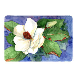 Caroline's Treasures - Flower - Magnolia Kitchen or Bath Mat 24 x 36 - Kitchen or Bath Comfort Floor Mat This mat is 24 inch by 36 inch. Comfort Mat / Carpet / Rug that is Made and Printed in the USA. A foam cushion is attached to the bottom of the mat for comfort when standing. The mat has been permanently dyed for moderate traffic. Durable and fade resistant. The back of the mat is rubber backed to keep the mat from slipping on a smooth floor. Use pressure and water from garden hose or power washer to clean the mat. Vacuuming only with the hard wood floor setting, as to not pull up the knap of the felt. Avoid soap or cleaner that produces suds when cleaning. It will be difficult to get the suds out of the mat.