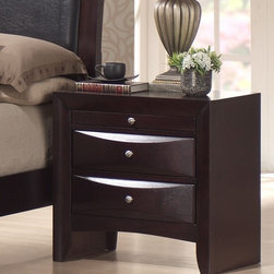 None - Skyline 2-drawer Nightstand - This modern two-drawer night stand has a Merlot finish that suits any decor. The silver drawer pulls offer attractive accents against the tone of the piece,and the two drawers give you plenty of space to store your bedtime necessities.