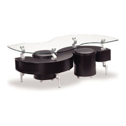 Global Furniture - Glass Coffee Table in Black with Black Stools - T288BC - Modern style