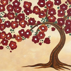 Flowering Tree (Original) by Jamie Lynn Moore - This charming tree symbolizes strength and wisdom. It's branching roots secure the durable trunk and supports the delicate branches that sprout hearty flowers. The background was created using layers of light, textured washes, that contrast the rich colors in the tree. The sculptural flowers were made by thickly applying paint with a palette knife to add drama and dimension.
