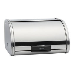Small Bread-Storage Bin - A sleek new take on the classic breadbox, streamlined in chromed steel with easy-open rolling lids, textured bases for added ventilation, and flat top for storing other items. Small holds two full loaves of bread; large holds three.