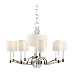 Hudson Valley Lighting - Hudson Valley Lighting 3009-PN Waterloo 12 Light Chandelier in Polished Nickel 3 - Striking geometry sets off the glittering flourishes of this avante garde collection. Waterloo's strong silhouette is enhanced with inspired embellishments. Cut-crystal prisms scatter the warm light of glass-sleeved candlesticks, refracting a playful cast of light across the mirror-finish of Polished Nickel surfaces. Vintage cues, like white cloth wiring inside the transparent glass sleeves, link this fresh style to an earlier era of design innovation. Waterloo's pieces are at once forward-looking and rooted in the timeless idea that beauty stems from fantastic features.(12) 40 Watt max 120vBulb Base: Candelabra Bulb Included: No Bulb Type: Incandescent Canopy Diameter: 6 Collection: Waterloo Diameter: 36 Energy Star Compliant: No Finish: Polished Nickel Height: 28 Light Direction: Up Down Lighting Number of Lights: 12 Number of Tiers: 1 Shade Bottom: 12 Shade Color: Off White Shade Height: 6-1 2 Shade Material: Faux Silk Shade Top: 12 Style: Bold and Glamorous Suggested Room Fit: Dining Room, Living Room Type: Crystal Chandeliers Voltage: 120 Wattage: 40 Weight: 41
