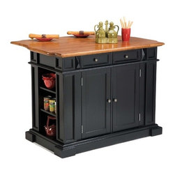 """Home Styles - Kitchen Island - Features: -Antiqued nickel hardware.-Easy glide storage drawers.-Raised detail cabinet doors with adjustable shelves inside.-Open storage on each end.-Top section with drawer.-Top surface has beautifully sculpted edges on each end.-Convenient drop down breakfast bar.-Attractive diamond shaped carvings with fluted pilasters.-Solid hardwoods and engineered wood construction.-Oak finished top.-Product Type: Kitchen Island.-Distressed: Yes.-Powder Coated Finish: No.-Gloss Finish: No.-Base Material: Wood.-Counter Material: Wood.-Hardware Material (Base Finish: Cottage Oak): Antique brass.-Hardware Material (Base Finish: Rich Multi Step Ebony): Antique pewter.-Hardware Material (Base Finish: White): Antiqued nickel.-Solid Wood Construction: Yes.-Number of Items Included: 1.-Water Resistant or Waterproof Cushions: No.-Stain Resistant: No.-Warp Resistant: No.-Exterior Shelves: Yes -Number of Exterior Shelves: 6.-Adjustable Exterior Shelving: Yes..-Drawers Included: Yes -Number of Drawers: 2.-Push Through Drawer: No..-Cabinets Included: Yes -Number of Cabinets : 1.-Double Sided Cabinet: No.-Number of Interior Shelves: 2.-Adjustable Interior Shelves: Yes.-Number of Doors: 2.-Locking Doors: No.-Door Handle Design: Knobs..-Towel Rack: No.-Pot Rack: No.-Spice Rack: No.-Cutting Board: No.-Drop Leaf: Yes.-Drain Groove: No.-Trash Bin Compartment: No.-Stools Included: No.-Casters: No.-Wine Rack: No.-Stemware Rack: No.-Cart Handles: No.-Finished Back: Yes.-Commercial Use: No.-Recycled Content: No.-Eco-Friendly: No.-Product Care: Clean with a damp cloth.Specifications: -ISTA 3A Certified: Yes.Dimensions: -Overall Height - Top to Bottom: 36.5"""".-Overall Width - Side to Side: 49.75"""".-Overall Depth - Front to Back: 26.5"""".-Width Without Side Attachments: 48"""".-Countertop Thickness: 0.75"""".-Countertop Width - Side to Side: 48"""".-Countertop Depth - Front to Back: 25"""".-Shelving: -Shelf Width - Side to Side: 12"""".-Shelf Depth - Front to Back: 6.5""""..-Leaf: -Leaf Width"""