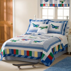 Pem America Fly Away Quilt Set - Your little pilot will be ready to take to the skies with the Pem America Fly Away Quilt Set. This set is covered in enough airplanes to keep your flying ace dreaming of loops and swoops night after night. Each plane is hand-crafted and features embroidered highlights on its edges. The whole quilt set is made from 100% cotton fabric with 100% cotton fiber fill making it durable and machine washable for easy care.Quilt Set Components:Twin: Quilt 1 pillow shamFull/Queen:Quilt 2 pillow shamsDimensions:Twin Quilt: 86L x 68W inchesFull/Queen Quilt: 86L x 86W inchesPillow Shams: 26L x 20W inchesAbout Pem AmericaMakers of high quality handcrafted textiles Pem America Outlet specializes in bedding that enhances your comfort and emphasizes the importance of a good night's rest. Quilts comforters pillows and other items for the bedroom are made with care and craftsmanship by Pem America. Their products cover a wide range of materials styles colors and designs all made with long-lasting quality construction and soft long-wearing materials. Details like fine stitching embroidery and crochet decorations and reinforced seaming make Pem America bedding comfortable and just right for you and your family.
