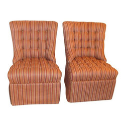 """Pre-owned Robert Allen Custom Vintage Chairs - A Pair - Make room at the table! Finally a pair of dining or occasional chairs that are comfortable and versatile.  The chairs are tufted, and have fantastic curves. They are truly one of a kind! The chairs are sturdy and in excellent shape.    They are 37 inches tall, and the seat is about 24 inches deep. From the floor to the seat is a little over 17 inches, and at the widest part of the seat it's about 25 inches.    The seller says, """"I found these vintage chairs at one of my favorite shops and had them professionally reupholstered in Robert Allen Fabric.  The pattern is Cliftonville and the color is Lake."""""""