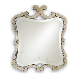 """Currey & Company - Currey & Company Sazerac Mirror - The vintage-inspired Sazerac mirror by Currey and Company gets its decorative edge from the pleasing curves of its antiqued frame. A bold wall accent, its unique shape recalls old-world glamour while reflecting contemporary elegance. 28""""W x 1""""D x 33""""H; Wood and mirror; Antique mirror finish; Hand finished"""