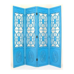 Wayborn - Spider Web Room Divider w 4 Panels in Teal - 4 Panels. Made from solid Basswood. Antiqued with a smooth finish. 72 in. W x 78 in. H (72 lbs.)