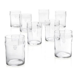 Set of 8 Half Pint Tumblers with Crown - A traditional crown marks these English-style pub glasses as an official imperial pint and a petite half-pint. Pint glass is ideally sized for generous pours of pale ales and lagers with a curved lip to cultivate foamy heads of beer. Half-pint serves smaller pours of pale ales and lagers.