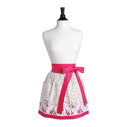 Jessie Steele - Jessie Steele Bubbly Celebration Border Front Tie Caroline Half Apron - The new Caroline half apron has an enhanced, printed border with chic pink trim. It also features a wide waistband, side pocket, gathered skirt, and waist bow that ties in front! Happy entertaining!