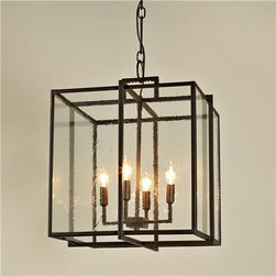 Double Cube Frame Lantern - The geometric lines of this style make it a great fit for more modern spaces. I love the clean feel and think one (or more) of these would work perfectly over a large kitchen island.