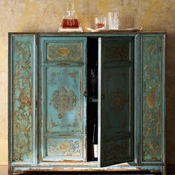 "Hand-Painted Wood Cabinet - Created with golden swirl designs, this hand-painted Moroccan style chest will delight and enchant.  Sides are unfinished. Made of wood with two doors and one fixed shelf. 43""W x 15""D x 39""T."
